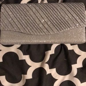 Handbags - Silver clutch with chain strap
